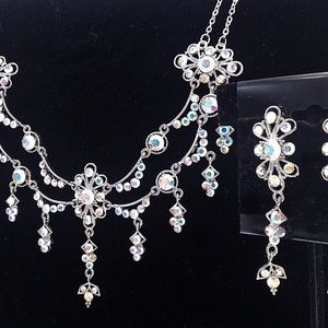AB Crystal Occasion Statement Necklace Set  z1